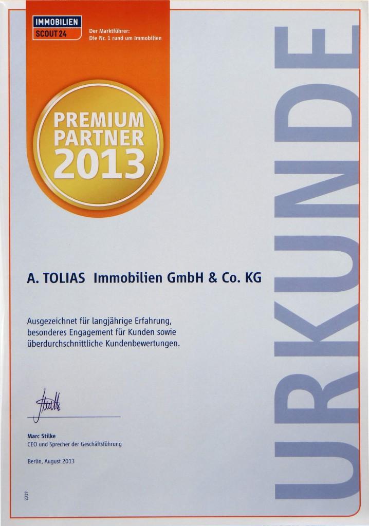 Urkunde Premium Partner Stuttgart 2013