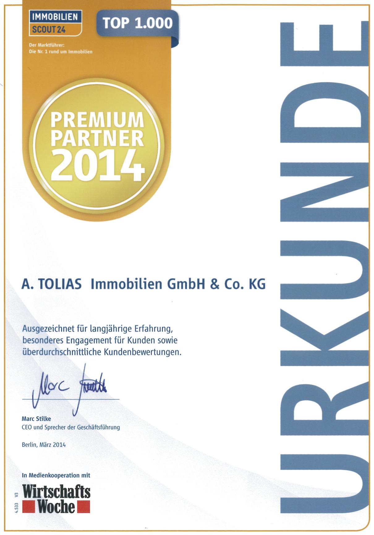 Urkunde Premium Partner 2014