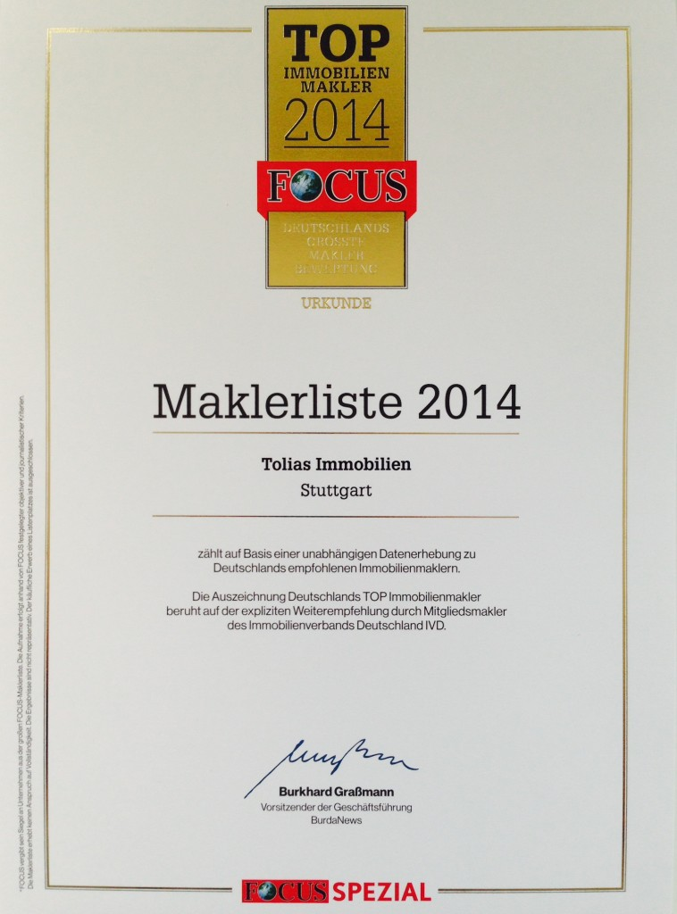 Top Immobilienmakler Stuttgart 2014 (Focus Spezial)