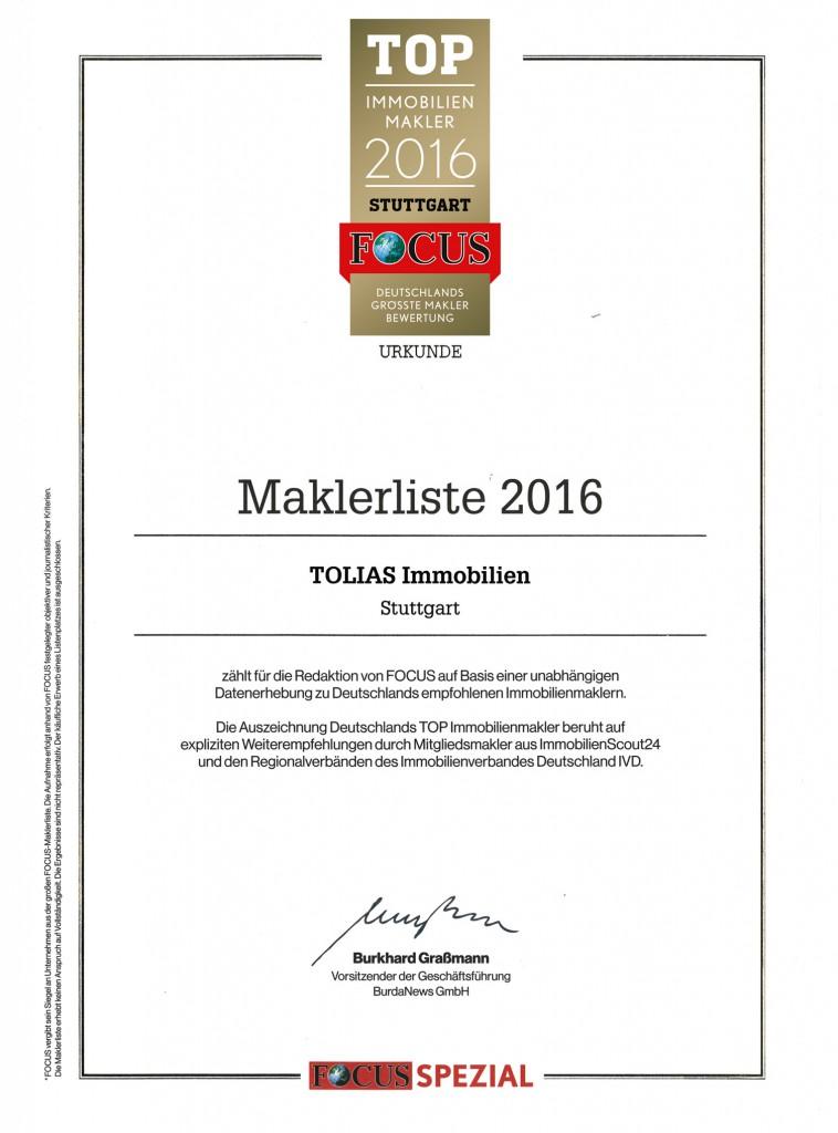 Urkunde Top-Immobilienmakler Stuttgart 2016