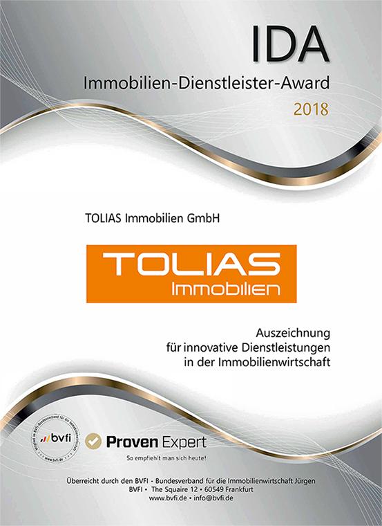 IDA Auszeichnung TOLIAS Immobilien GmbH 2018